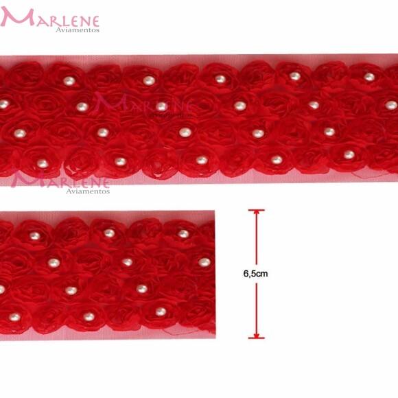 Passamanaria flor 4 fileiras com pérolas vermelha por metro