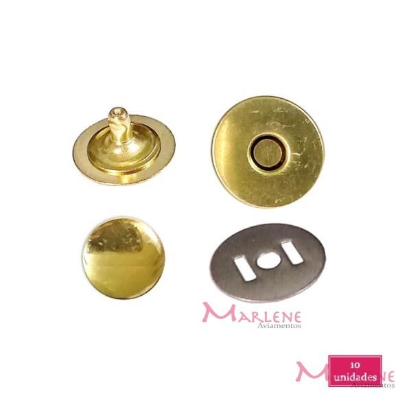 Botão de ímã 18mm com 10 latonado com rebite