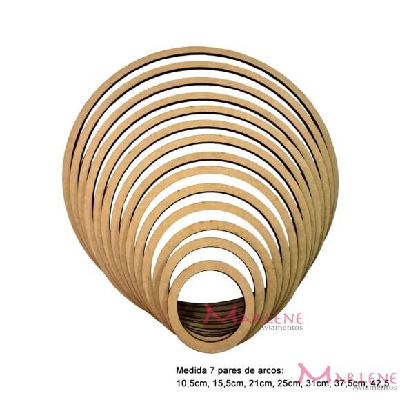 Kit arcos crú com 7 molduras em MDF