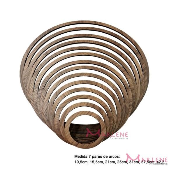 Kit arcos laminado cor madeira com 7 molduras em MDF