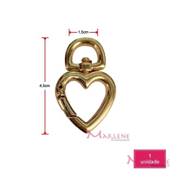 Coração articulado ouro pequeno (Mosquetão)