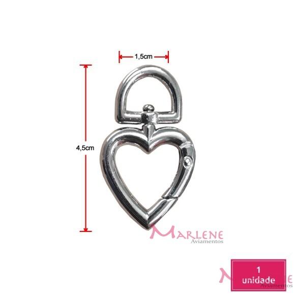 Coração articulado níquel pequeno (Mosquetão)