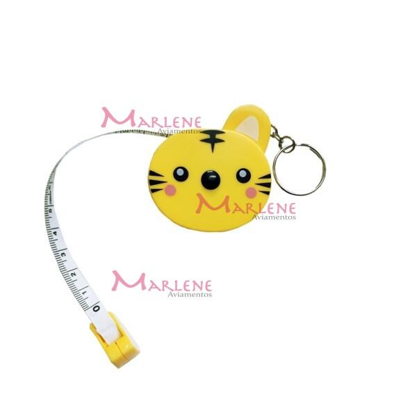 Fita métrica tigre amarelo retrátil com chaveiro