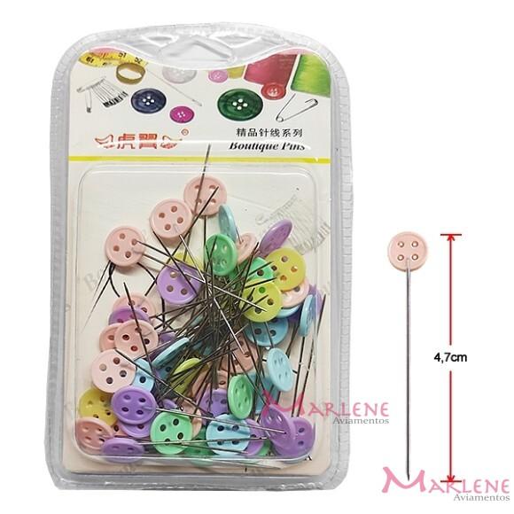 Alfinete para patchwork cabeça botão com 60 unidades