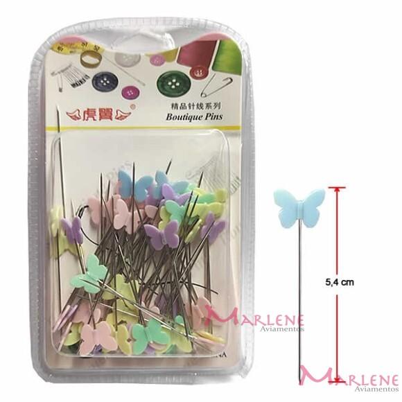Alfinete para patchwork cabeça borboleta com 60 unidades