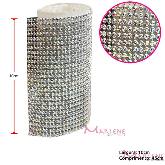 Manta de strass prata furta-cor  10x45cm