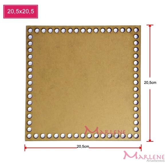 Base mdf quadrada 20,5x20,5cm para crochê