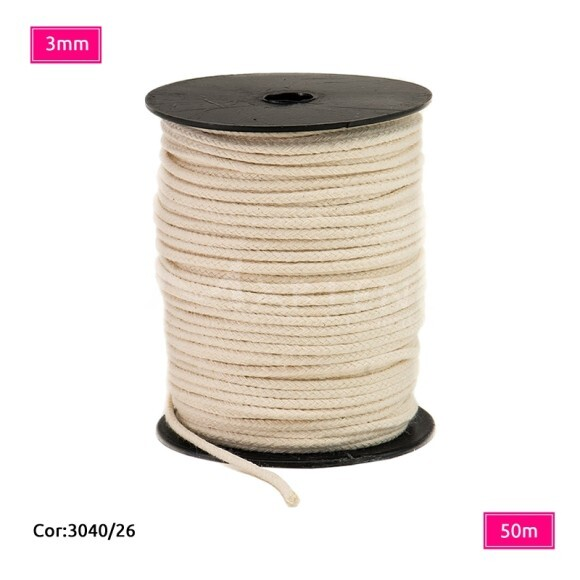 Cordão trançado São José 3mm de algodão crú com 50m
