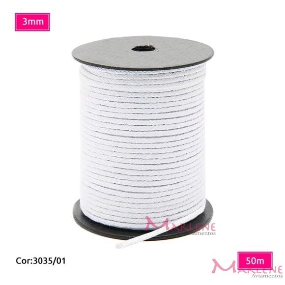 Cordão trançado São José 3mm de algodão branco com 50m