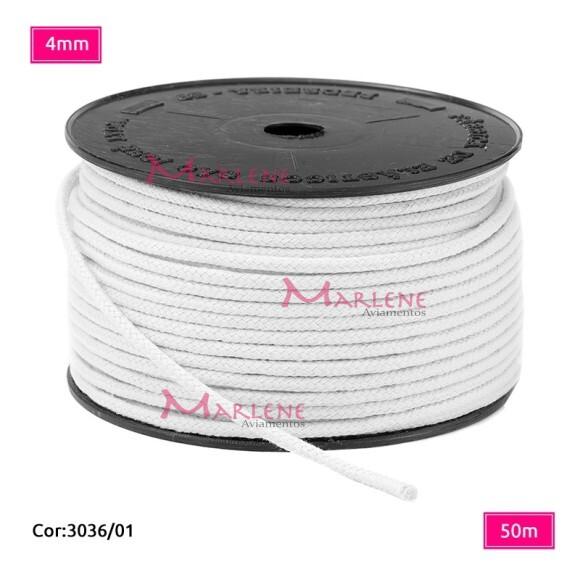 Cordão trançado São José 4mm de algodão branco com 50m