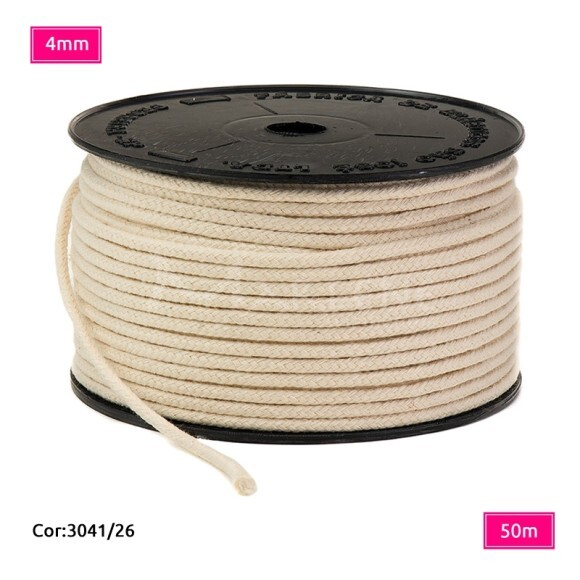 Cordão trançado São José 4mm de algodão crú com 50m