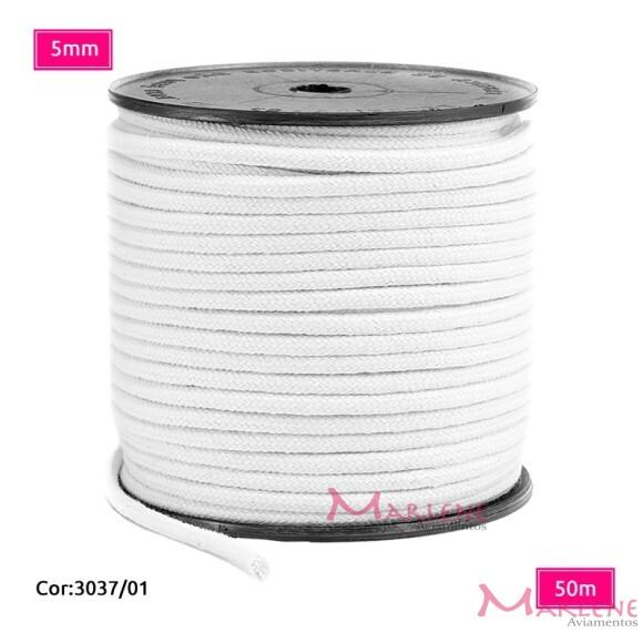 Cordão trançado São José 5mm de algodão branco com 50m