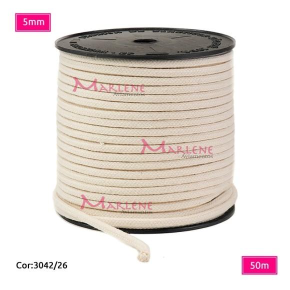 Cordão trançado São José 5mm de algodão crú com 50m