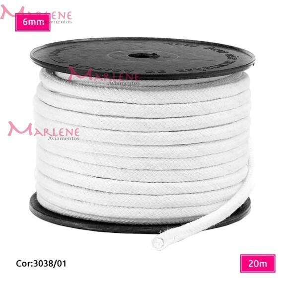 Cordão trançado São José 6mm de algodão branco com 20m