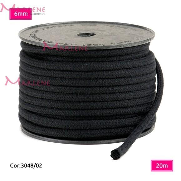 Cordão trançado São José 6mm de algodão preto com 20m