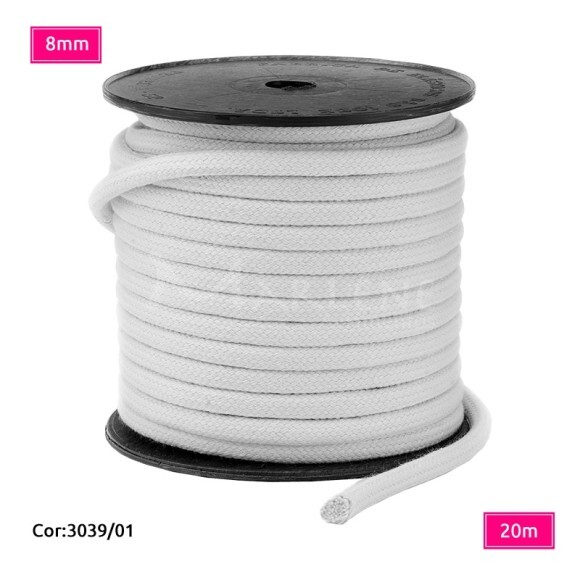 Cordão trançado São José 8mm de algodão branco com 20m