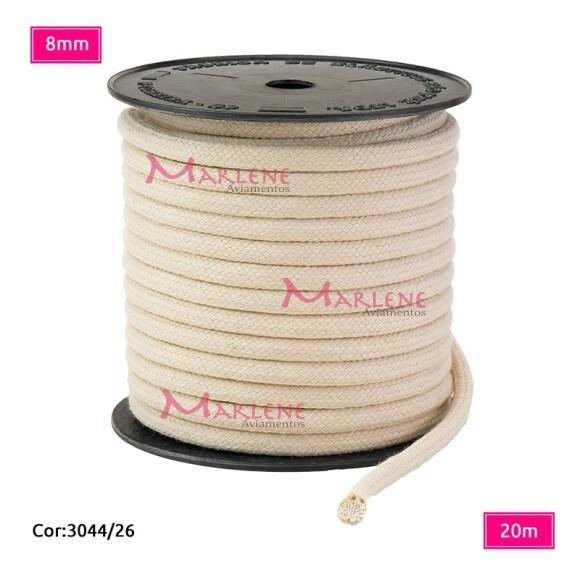 Cordão trançado São José 8mm de algodão crú com 20m
