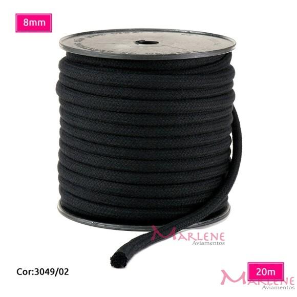 Cordão trançado São José 8mm de algodão preto com 20m