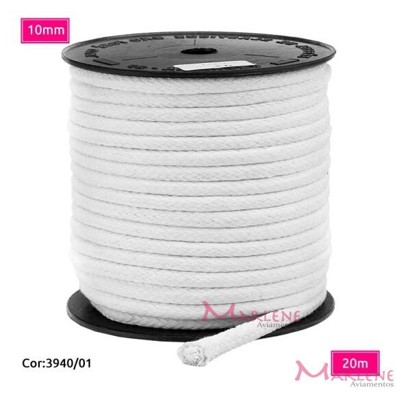 Cordão trançado São José 10mm de algodão branco com 20m