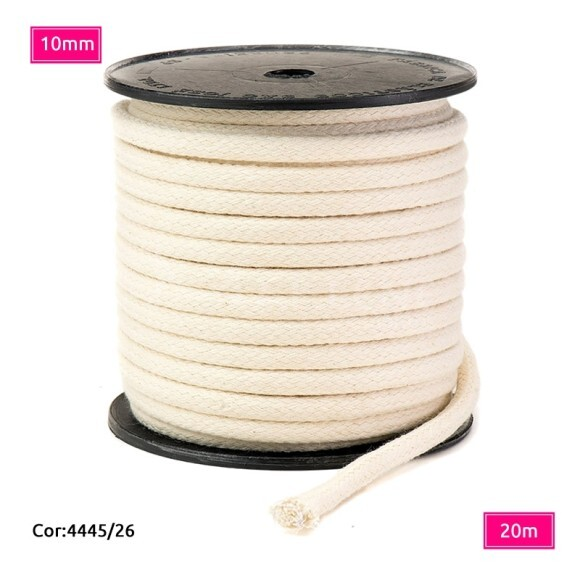 Cordão trançado São José 10mm de algodão crú com 20m