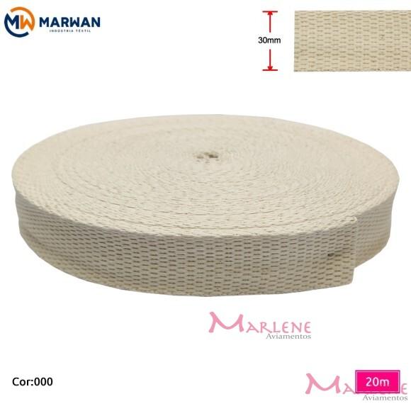 Cadarço de algodão crú 30mm com 20m Marwan