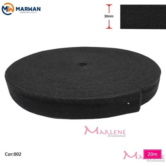 Cadarço de algodão preto 30mm com 20m Marwan