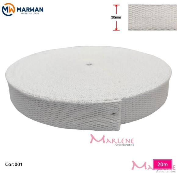 Cadarço de algodão branco 30mm com 20m Marwan