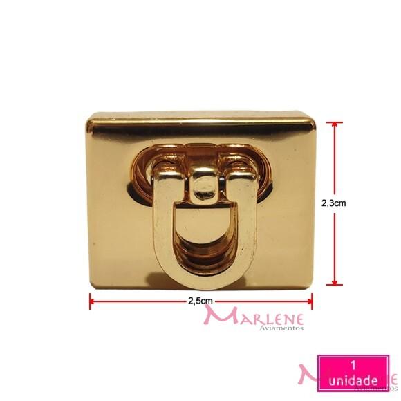 Fecho para bolsa 2,5cm ouro de encaixe com 1 unidade