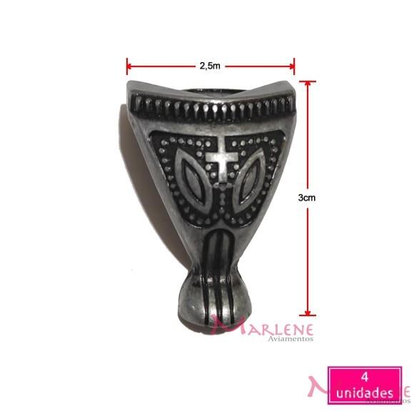Pé de metal egípcio grande 4 unidades prata velha 1382G
