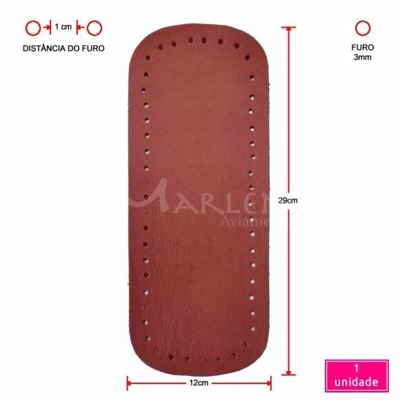 Fundo de bolsa vermelho 12x29cm sintético