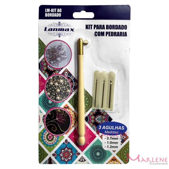 Kit para bordado com pedraria com 3 agulhas