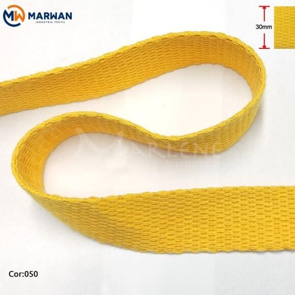 Cadarço de algodão 30mm amarelo ouro Marwan por metro