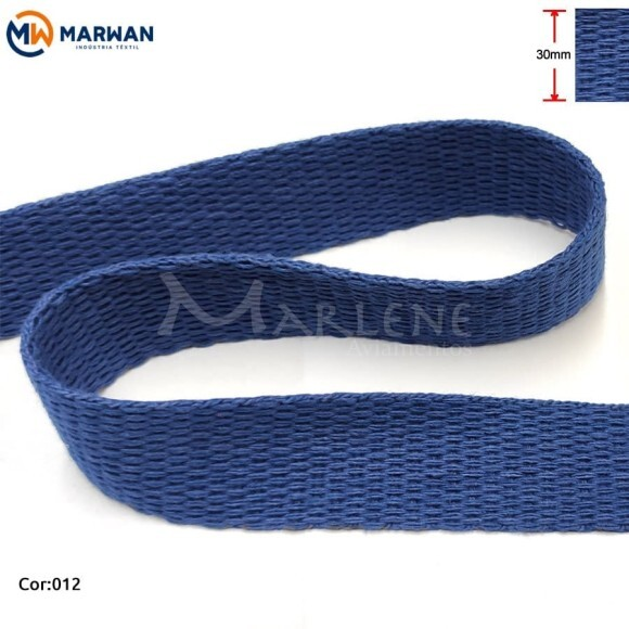 Cadarço de algodão 30mm azul royal por metro