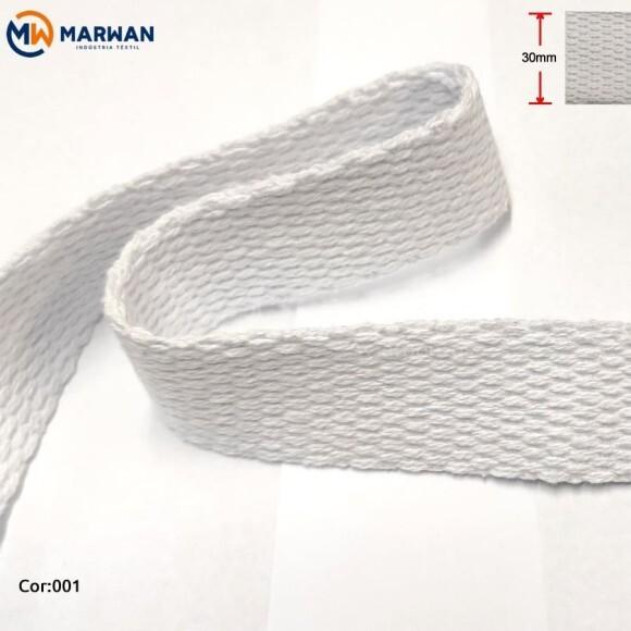 Cadarço de algodão 30mm branco por metro