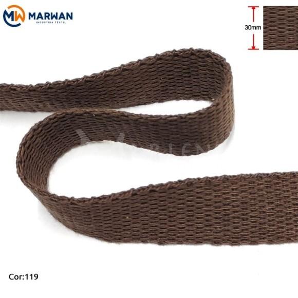 Cadarço de algodão 30mm chocolate por metro