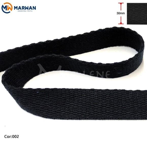 Cadarço de algodão 30mm preto por metro