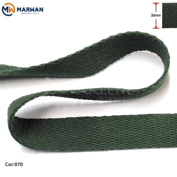 Cadarço de algodão 30mm verde bandeira por metro