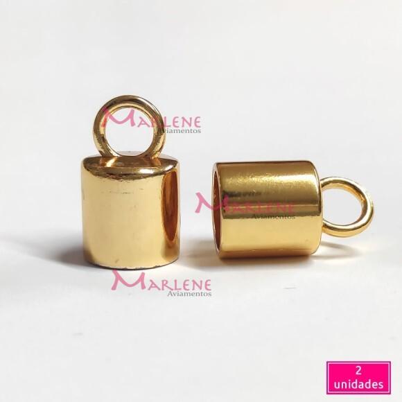 Ponteira com argola 12mm ouro metal 2 unidades