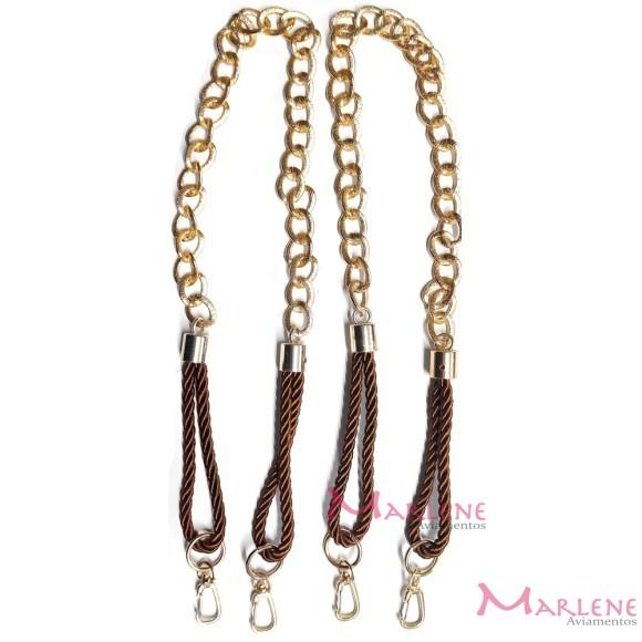 Alça com corrente ouro cordão São Francisco ponteira e mosquetão par