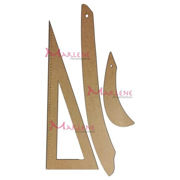 Kit réguas esquadro e curvas para costura e modelam em MDF 3 peças