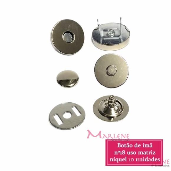 Botão de ímã 18mm com 10 níquel com rebite