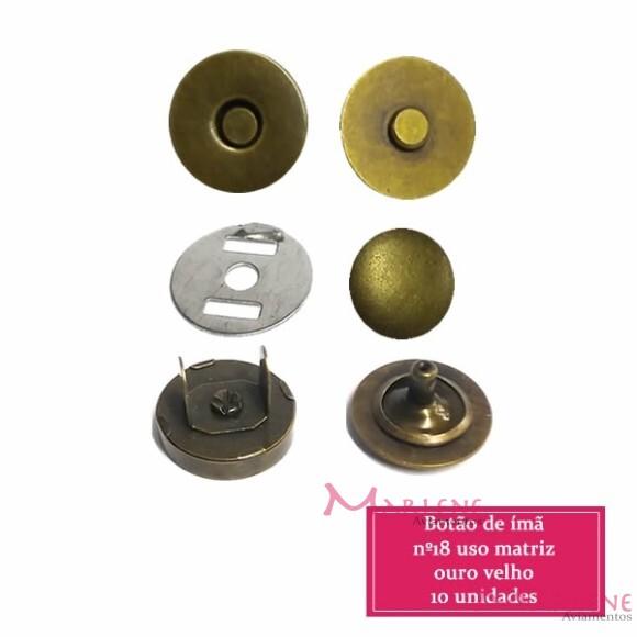 Botão de ímã 18mm com 10 ouro velho com rebite