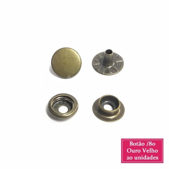 Botão de pressão nº80 (/80) com 20 ouro velho Eberle