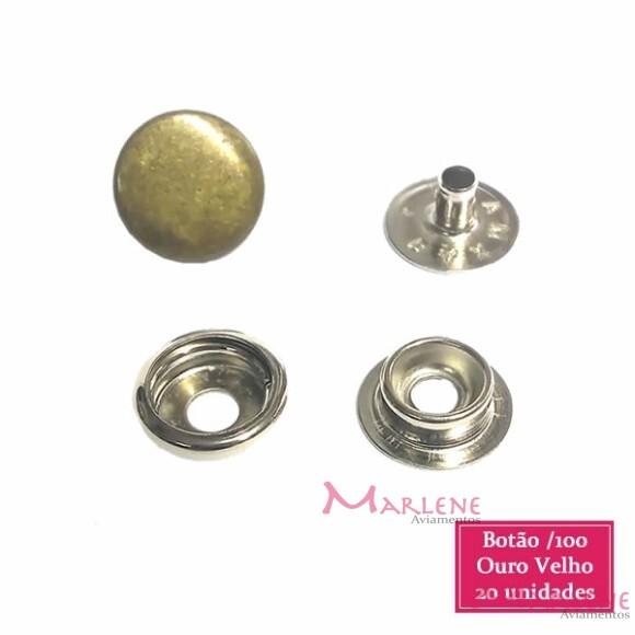 Botão de pressão nº100 (/100) com 20 ouro velho