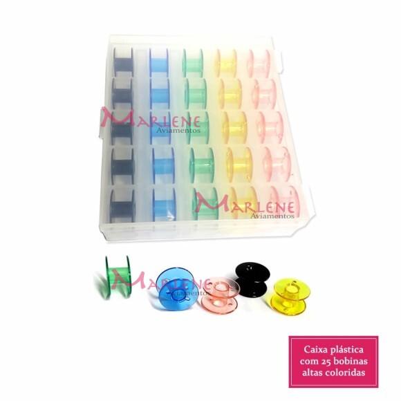 Caixa com 25 bobinas coloridas altas para máquina doméstica