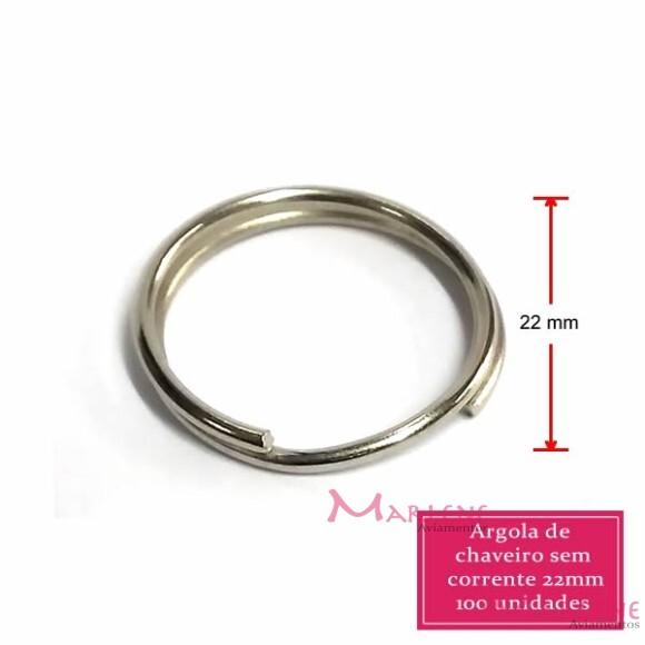 Argola para chaveiro 22mm com 100  sem corrente níquel