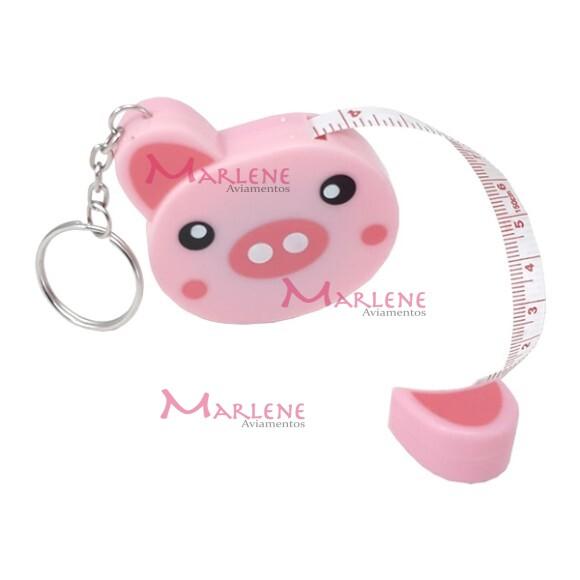 Fita métrica porco retrátil com chaveiro
